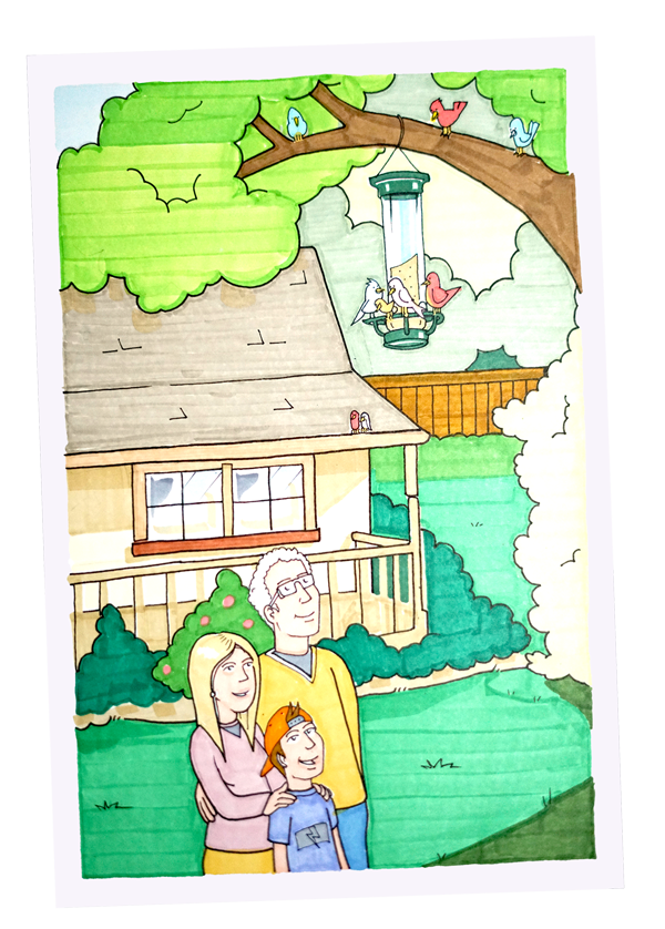 Have A Bird step 5 - Enjoy watching the birds with family and friends - crooked image